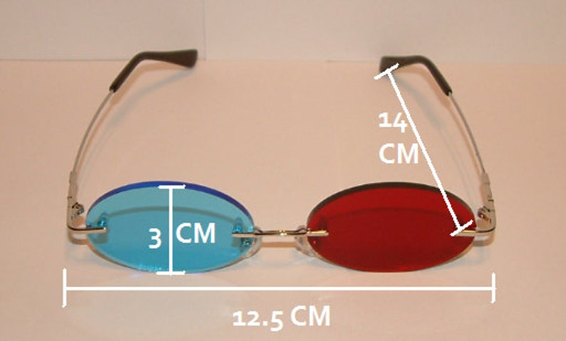 d1e29d93a8 Standard Red and Blue Oval cosplay costume glasses.