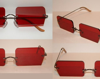 Red Rectangle Cosplay Costume Glasses
