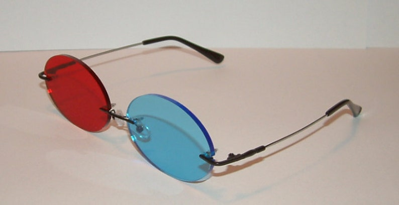 e56fd4aba7 Large Red and Blue Oval cosplay costume glasses.