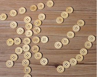 30 PC wood buttons 15mm/12.5mm - Wooden Buttons ,tree buttons, natural wood buttons