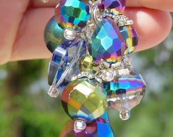 MARDI GRAS GLASS Clip,  Vibrant Rainbow Beads Purse Clip, Bag Clip, Purse Jewelry