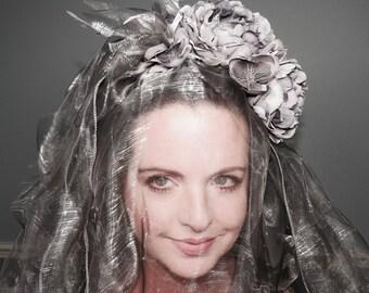 GHOSTLY PRESENCE Sheer Iridescent Ghost Veil Style Headdress