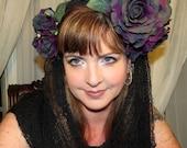 THE GRAVE WIDOW Black and Purple Headdress Hair Adornment ooak