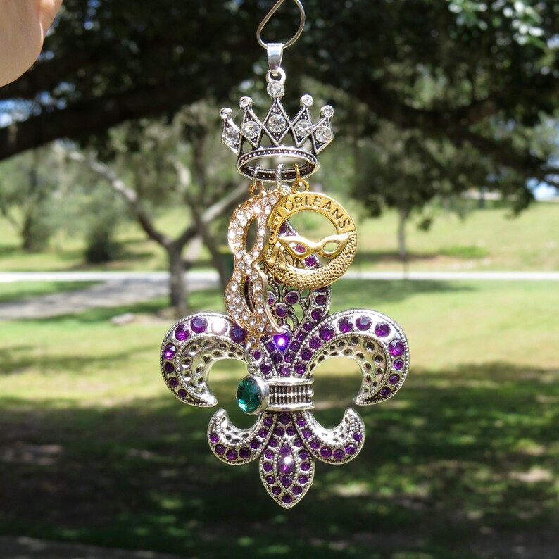 MARDI GRAS TIME Tree Jewelry Christmas Ornament Fleur de Lis New Orleans