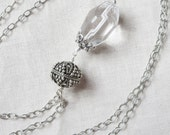 Huge Crystal Quartz Nugget with Fancy Handmade Sterling Silver Bead, Cap and Etched Chain