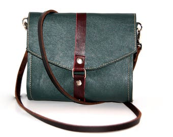Leather Cross Body Bag, Leather Satchel, Green Leather Crossbody Bag, Green Leather Bag, Genuine Leather Crossbody, Green Leather Clutch