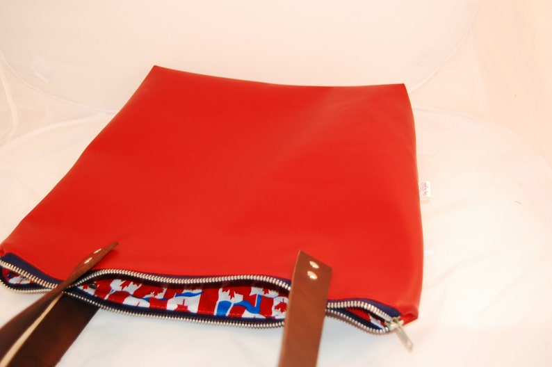 Red Faux Leather Book Bag Red Vegan Leather Tote Bag Red Vegan Leather Shoulder Bag Red Vegan Leather Briefcase
