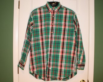 RALPH LAUREN Rare 80s CHRISTMAS Plaid Thick Cotton Flannel Northern Mariana Islands Work Shirt Holidays Woodland Prep Oversized Tall M (Not)