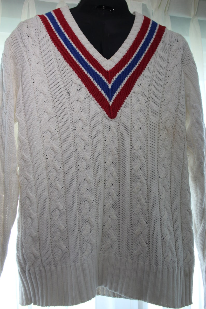 Wimbledon Cotton Cable Rock Label Tennis Gatsby Sweater Preppie Ralph Lauren Prep Classic Lg L Men Style 80s Rwb Vibe Vintage Polo Yacht 8wkXn0PO