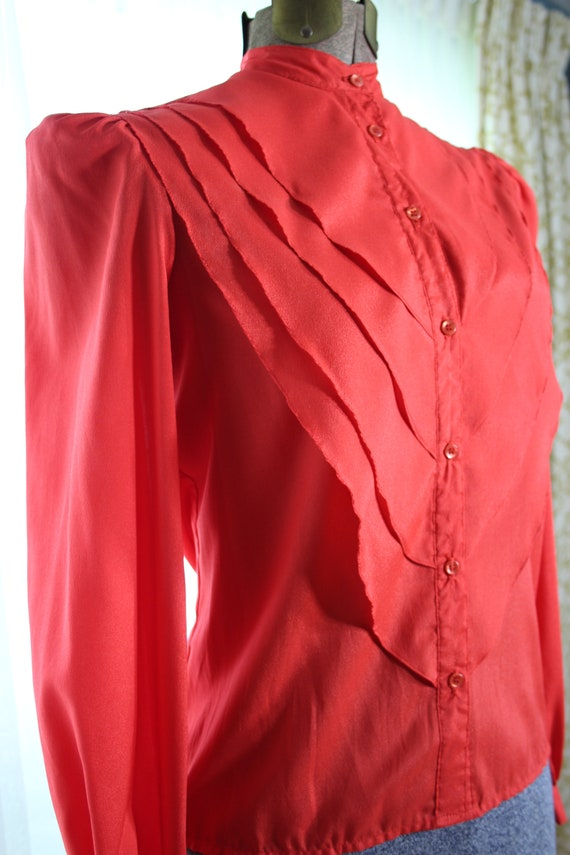 70s does 20s 30s Solid RED ART DECO Vintage 4 Sec… - image 5