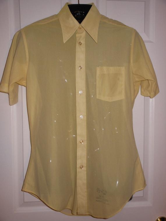 22ee7aa9be 60s Ultra Sheer SEARS Mid-Mod Dress SHIRT Custard Butter