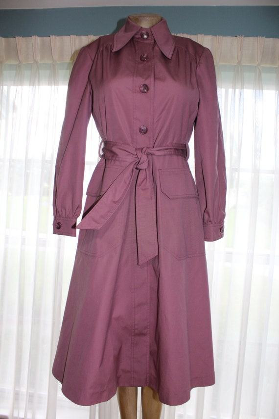 70s Fleet Street Coat Belted Trench Swing Overcoat Dusty Amethyst Purple Smoky Lavender Disco Era Bleeker St Jonathan Logan Buttons Vintage 8 by Etsy