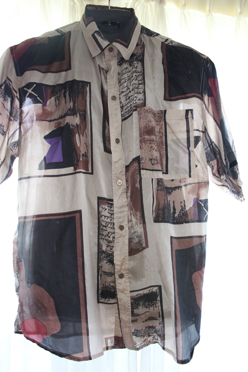 691c8268 80s Men PURE SILK SHIRT Artsy Print Collage Geo Abstract with | Etsy