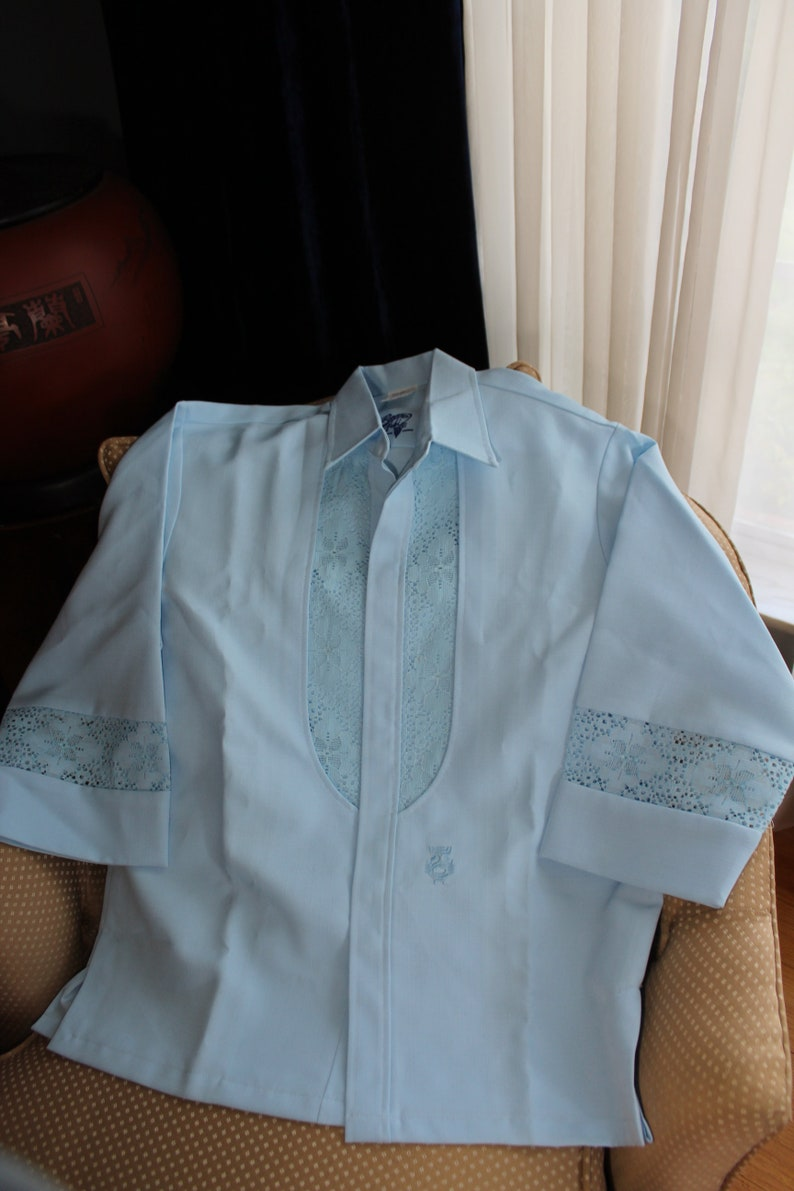 f4b38f920d 70s IOLANI Beau Tiki HAWAIIAN WEDDING Shirt Lace Sky Blue Made | Etsy