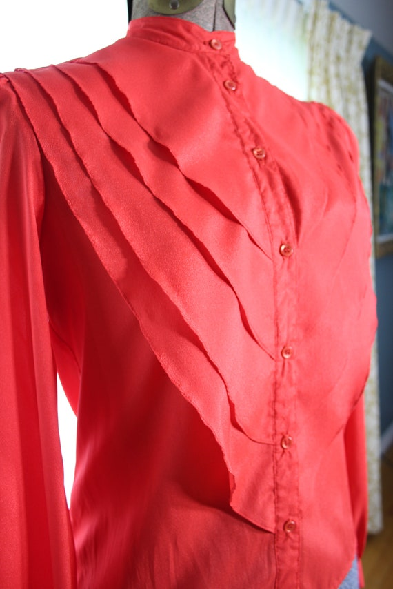 70s does 20s 30s Solid RED ART DECO Vintage 4 Sec… - image 1