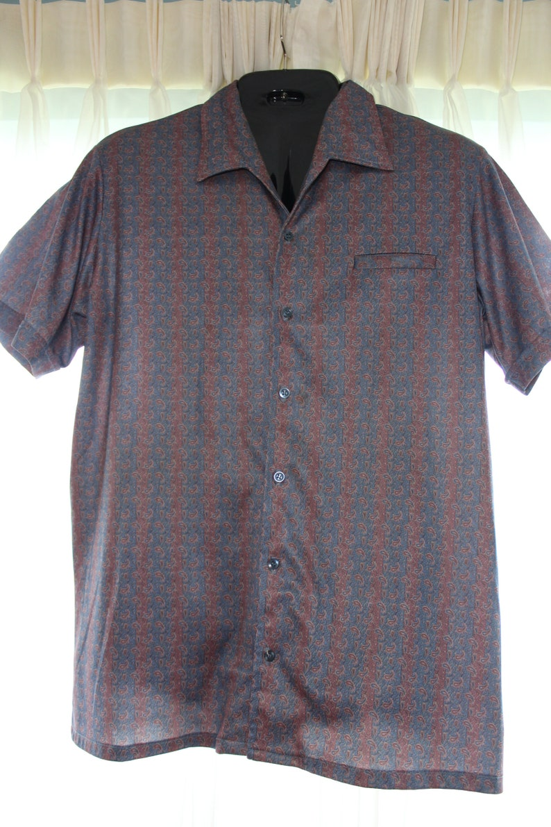 153034c3ccfcb1 Retro DAVINCI Presents DELFINA Mens DISCO era poly Shirt with Mod Groovy  Paisley Print Luxe Sheen Cadet Blue Mauve ...