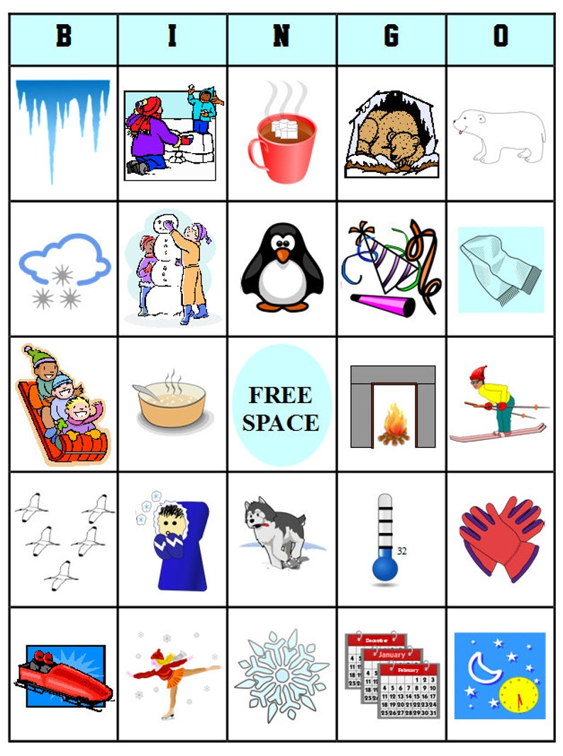 graphic about Winter Bingo Cards Free Printable known as Printable Wintertime Bingo - 54 Bingo Playing cards - Obtain this PDF History
