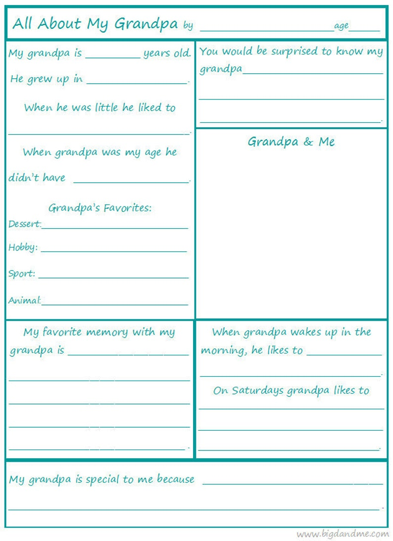 It's just a photo of Grandpa Questionnaire Printable inside free printable