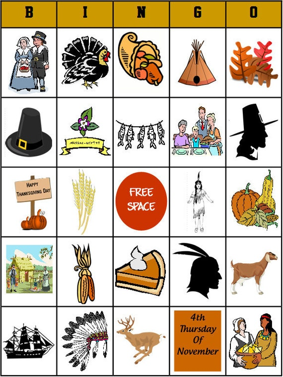 It is a picture of Ambitious Free Printable Thanksgiving Bingo