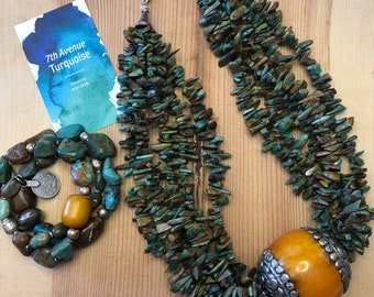 5 Strand Turquoise with statement Amber