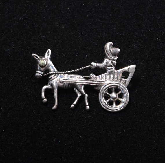 Vintage Mexican Silver Donkey and Cart Brooch