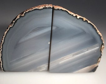 Natural Blue-Grey Agate Bookends