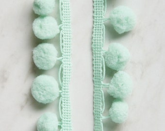 Mint Green Dangle Pom Pom Trim - 2 yards