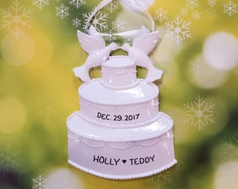 Personalized Wedding Cake Christmas Ornament