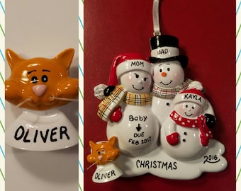 Personalized Orange Cat ADD ON To Any Ornament