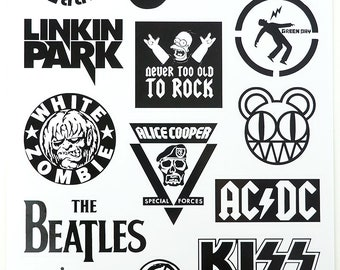 527ed4a621a486 Rock Band Stickers Laptop Suitcase Stickers Skateboard Stickers - 1 Sheet  15 Pcs