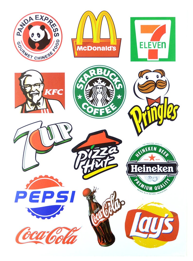 f23812176ae442 Food Brand Logo Stickers Laptop Suitcase Stickers Skateboard