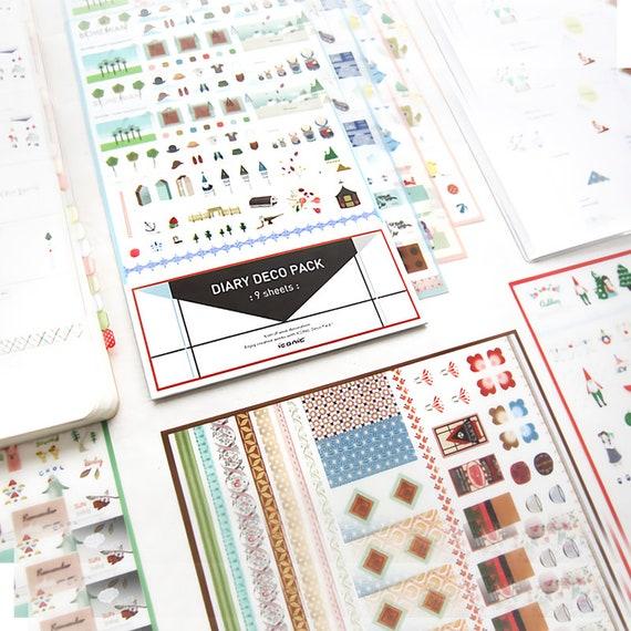 9 sheets ICONIC diary deco pack version.4 calendar photo album sticker