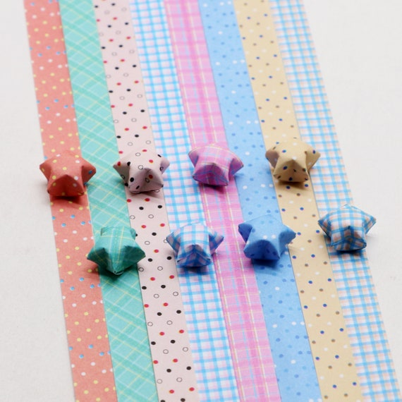 Dots And Plaid Origami Lucky Star Paper Stripsgift Folding Diy Pack Of 130 Strips
