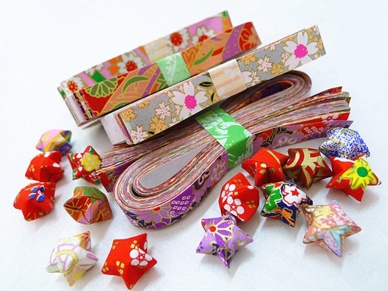 Washi Chiyogami Origami Lucky Star Paper Strips Assorted image 0