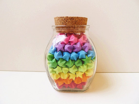Glass Jar Of Rainbow Origami Lucky Stars Star