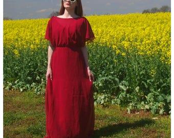 Vintage Deep Red Gown Burgundy Maxi Dress Formal Boho