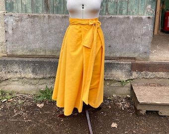 One Size Fits All Yellow Needlecord Wrap Skirt