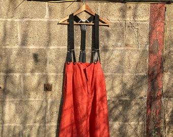 """30"""" Waist Red Linen High Waist Trousers"""