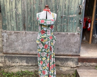 Size 12 Abstract Floral Cotton Maxi Dress