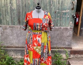 Size 18 Japanese Silk Ikat Dress