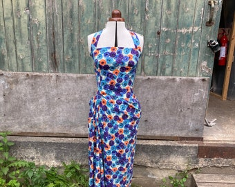 Size 10 Purple and Orange Floral Halterneck Dress