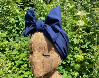 Midnight Blue 1930s Style Dusting Headwrap