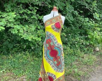 Size 8-10 Yellow African Wax Print Maxi Dress