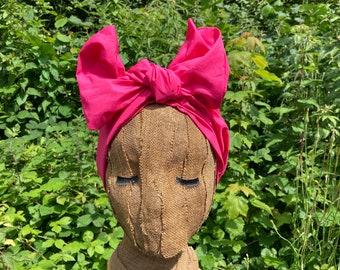 Bright Azalea Pink 1950s Style Headwrap