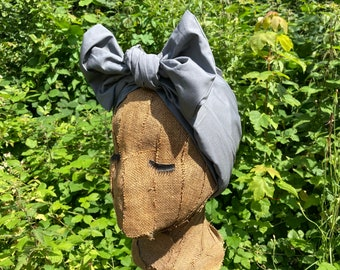 Grey Cotton 1940s Style Dusting Headwrap