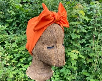 Tangerine Orange Cotton 1950s Style Headwrap