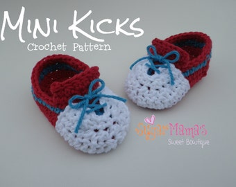 INSTANT Download - Mini Kicks CROCHET PATTERN Baby Sneakers Pdf File - 2 Sizes - Permission to sell finished item