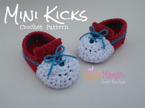 042cb057650 INSTANT Download - Mini Kicks CROCHET PATTERN Baby Sneakers Pdf File - 2  Sizes - Permission to sell finished item