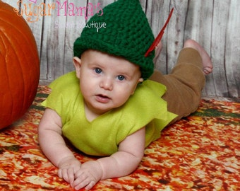 INSTANT Download - Peter Pan / Robin Hood Hat CROCHET PATTERN - Pdf File - 6 Sizes included - Permission to sell finished item
