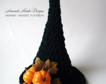 INSTANT Download - Witchy Hat Table Centerpiece CROCHET PATTERN - Pdf File - Permission to sell finished item - Witch Halloween Decor
